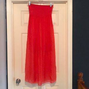 Orange/coral Italian maxi skirt (from Florence)